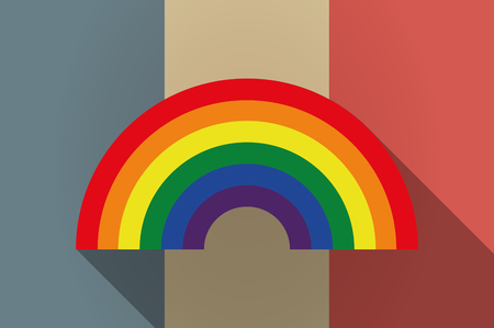 rainbow: Illustration of a long shadow flag of France vector icon with a rainbow