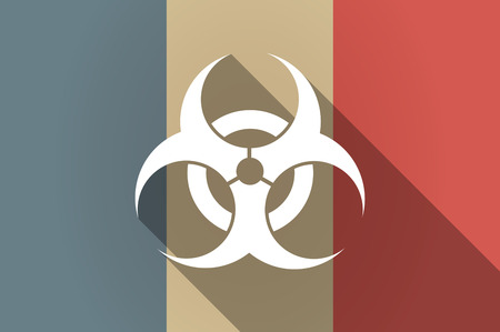 biohazard sign: Illistration of a long shadow flag of France vector icon with a biohazard sign