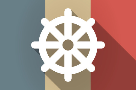 dharma: Illustration of a long shadow flag of France vector icon with a dharma chakra sign
