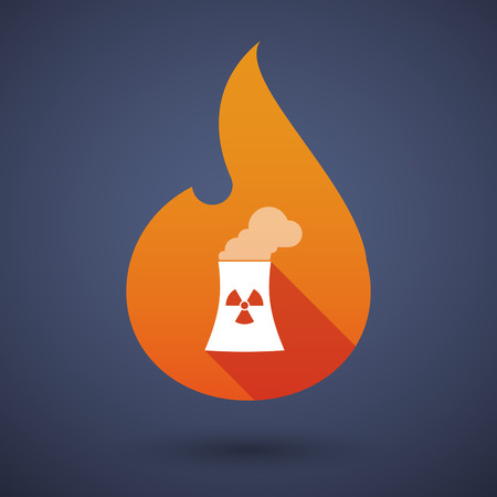 power station: Illustration of a long shadow vector flame icon with a nuclear power station