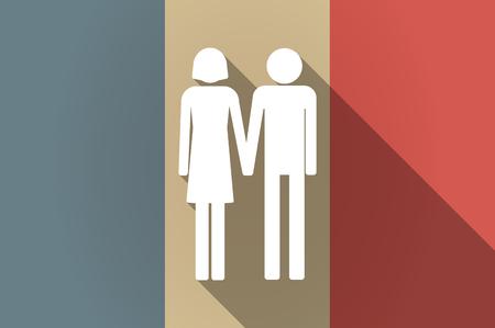 amadores: Ilustración de una bandera larga sombra del icono del vector de Francia con un par pictograma heterosexuales