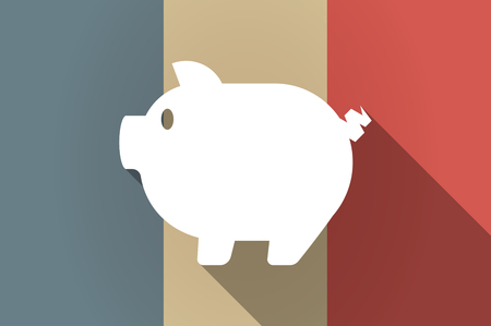 french countryside: Illustration of a long shadow flag of France vector icon with a pig