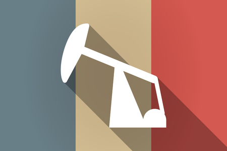 fuel rod: Illustration of a long shadow flag of France vector icon with a horsehead pump Illustration