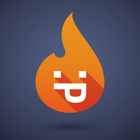 lengua larga: Illustration of a long shadow vector flame icon with a sticking out tongue text face