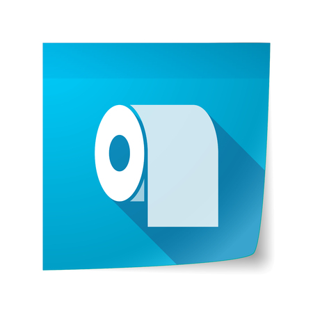 paper roll: Illustration of a long shadow vector sticky note icon with a toilet paper roll