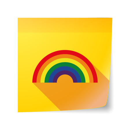 sticky note: Illustration of a long shadow vector sticky note icon with a rainbow Illustration
