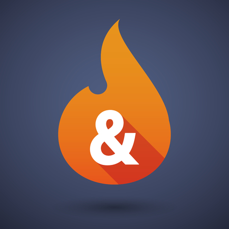 ampersand: Illustration of a long shadow vector flame icon with an ampersand