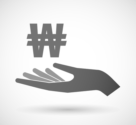 won: Illustration of an isolated vector hand giving a won currency sign
