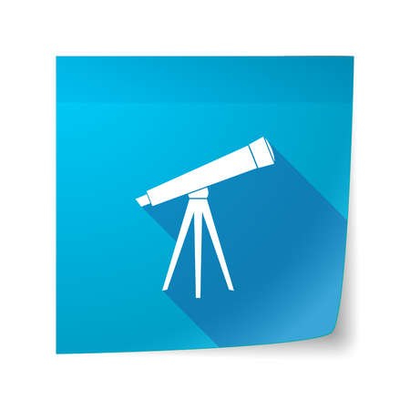 sticky note: Illustration of a long shadow vector sticky note icon with a telescope Illustration