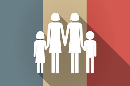 lesbienne: Illustration d'un drapeau de la France vecteur icône de longue ombre avec un pictogramme les parents de famille lesbienne