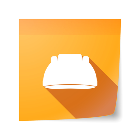 sticky note: Illustration of a long shadow vector sticky note icon with a work helmet