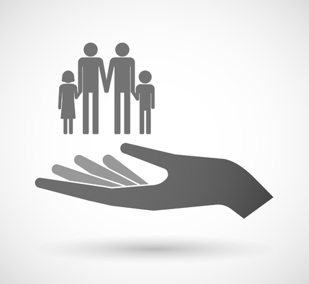 Illustration of an isolated vector hand giving a gay parents  family pictogram Illustration