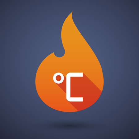 celsius: Illustration of a long shadow vector flame icon with  a celsius degree sign