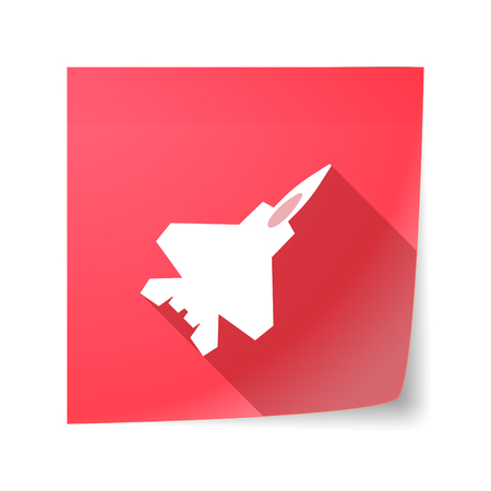 combat: Illustration of a long shadow vector sticky note icon with a combat plane