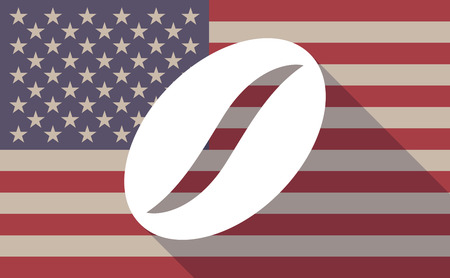 long bean: Illustration of a long shadow vector USA flag icon with a coffee bean