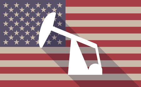 nodding: Illustration of a long shadow USA flag icon with a horse head pump