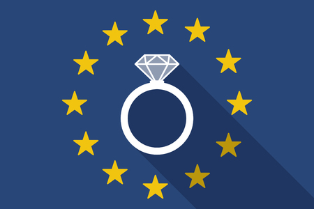 bague de fiancaille: Illustration of an European Union  long shadow flag with an engagement ring Illustration