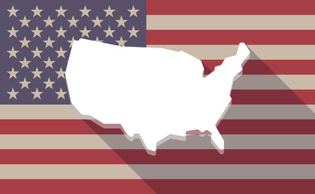 map of the united states: Illustration of a long shadow USA flag icon with  a map of the USA