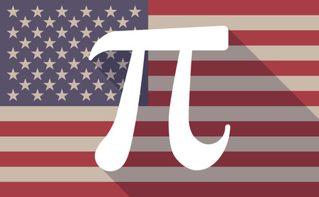 constant: Illustration of a long shadow USA flag icon with the number pi symbol Illustration