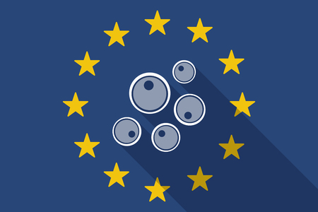 fertility emblem: Illustration of an European Union  long shadow flag with oocytes Illustration