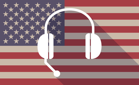 hands free phone: Illustration of a long shadow USA flag icon with  a hands free phone device Illustration
