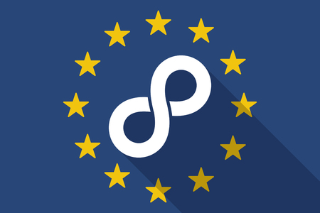 mobius loop: Illustration of an European Union  long shadow flag with an infinite sign