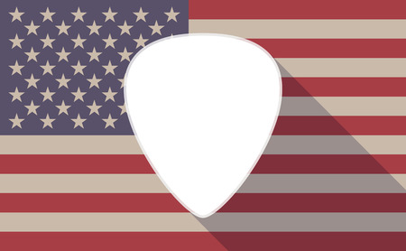 plectrum: Illustration of a long shadow USA flag icon with a plectrum Illustration