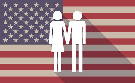 heterosexual: Illustration of a long shadow USA flag icon with a heterosexual couple pictograph