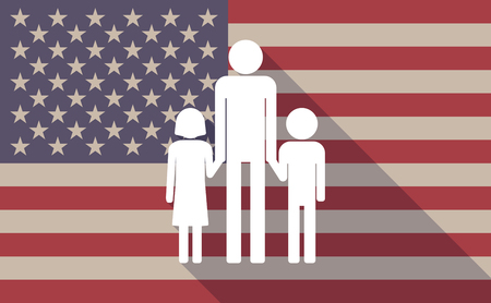 single parent: Illustration of a long shadow USA flag icon with a male single parent family pictograph