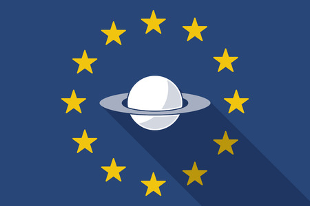 and saturn: Illustration of an European Union  long shadow flag with the planet Saturn