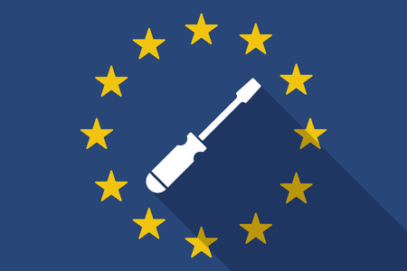 euro screw: Illustration of an European Union  long shadow flag with a screwdriver Illustration