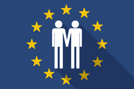 gay couple: Illustration of an European Union  long shadow flag with a gay couple pictogram