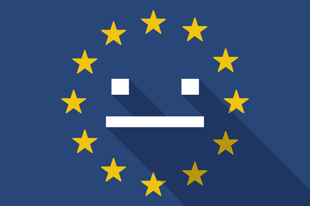 emotionless: Illustration of an European Union  long shadow flag with a emotionless text face
