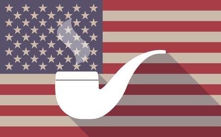 pipe smoking: Illustration of a long shadow USA flag icon with a smoking pipe Illustration