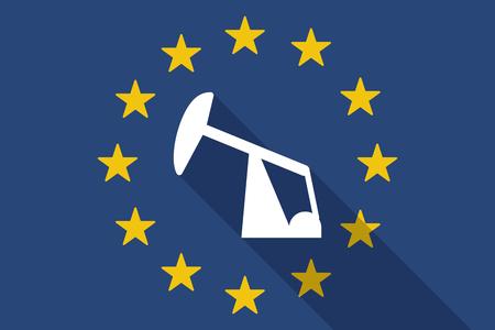 horsehead pump: Illustration of an European Union  long shadow flag with a horsehead pump Illustration