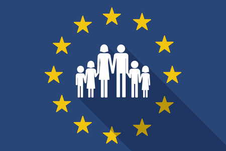 large family: Illustration of an European Union  long shadow flag with a large family  pictogram Illustration