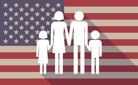 female child: Illustration of a long shadow USA flag icon with a conventional family pictograph Illustration