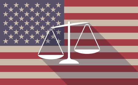 불균형 한 체중 규모와 긴 그림자 미국 국기 아이콘의 그림 일러스트