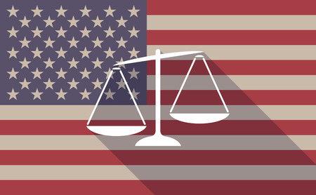Illustration of a long shadow USA flag icon with  an unbalanced weight scale Illustration