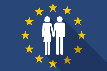heterosexual: Illustration of an European Union  long shadow flag with a heterosexual couple pictogram