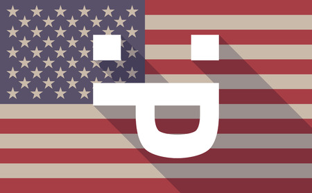 long tongue: Illustration of a long shadow USA flag icon with a sticking out tongue text face Illustration
