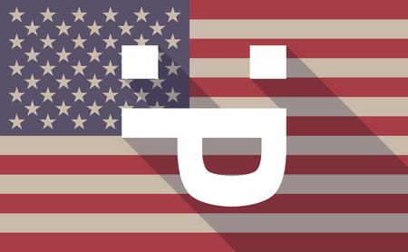 sticking out tongue: Ilustraci�n de un icono de la bandera EE.UU. larga sombra con una cara de texto lengua fuera