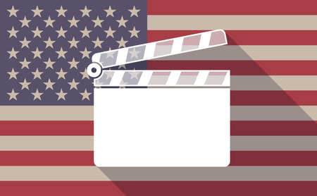 bar scene: Illustration of a long shadow USA flag icon with a clapperboard