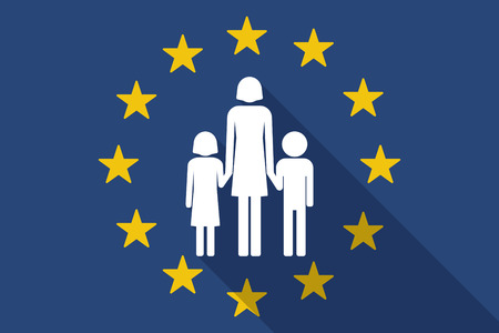 single family: Illustration of an European Union  long shadow flag with a female single parent family pictogram