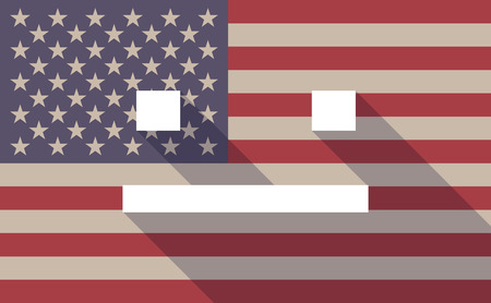 emotionless: Illustration of a long shadow USA flag icon with a emotionless text face