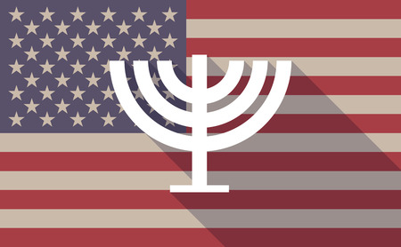 jews: Illustration of a long shadow vector USA flag icon with a chandelier