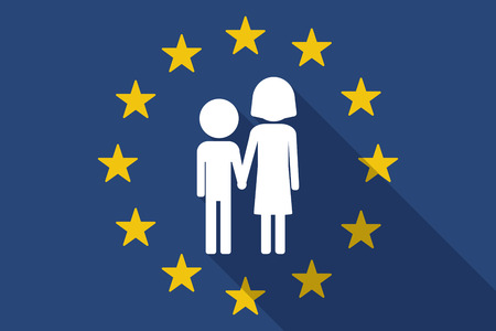 orphan: Illustration of an European Union  long shadow flag with a childhood pictogram Illustration