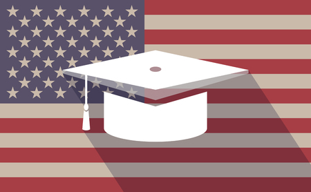abstract academic: Illustration of a long shadow vector USA flag icon with a graduation cap Illustration