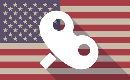 crank: Illustration of a long shadow USA flag icon with a toy crank