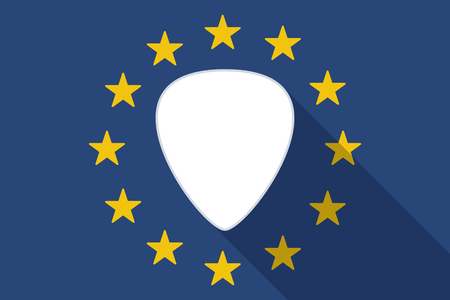 plectrum: Illustration of an European Union  long shadow flag with a plectrum Illustration